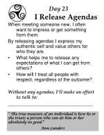 day 23 i release agendas
