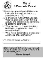 day 6 i promote peace