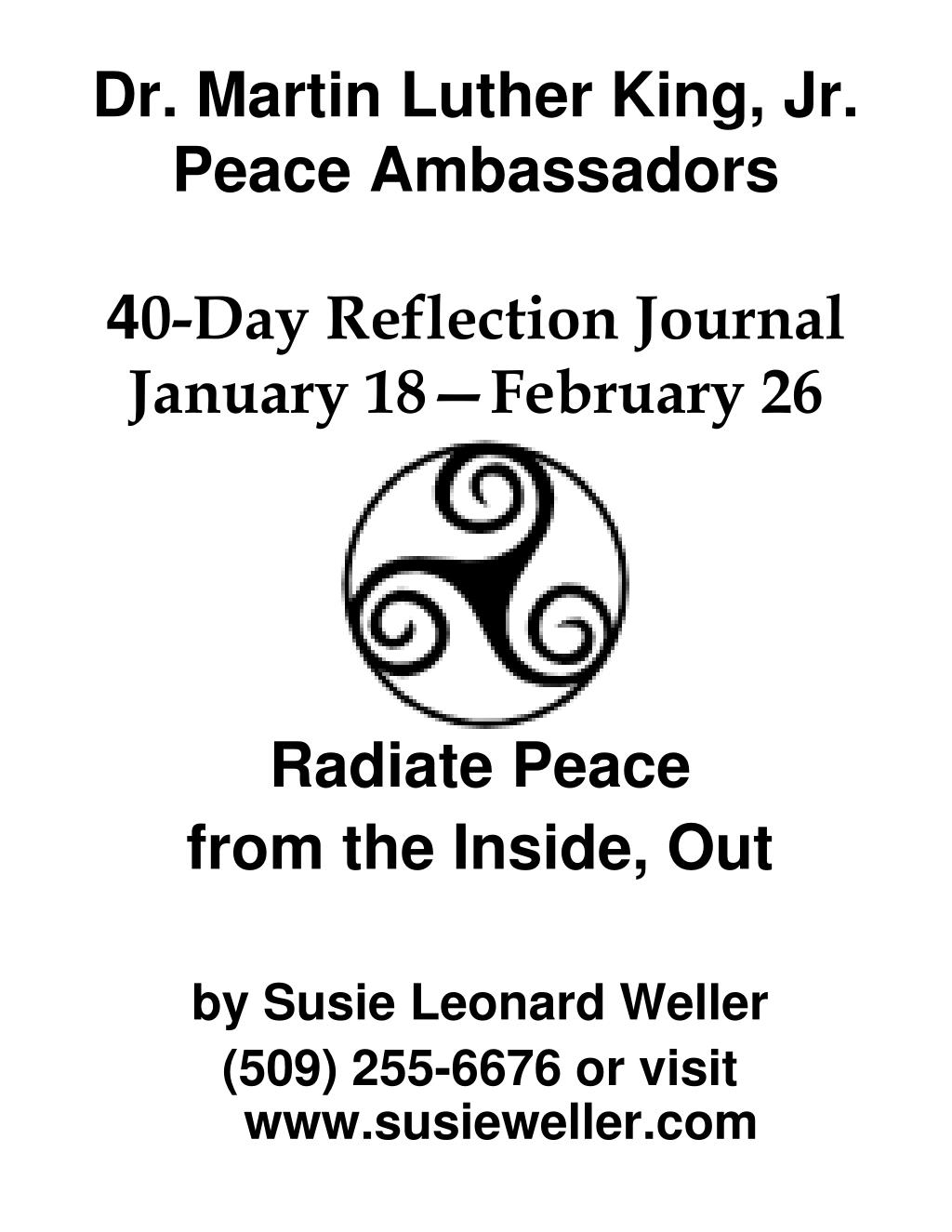 dr martin luther king jr peace ambassadors 4 0 day reflection journal january 18 february 26 l.