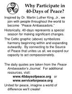 why participate in 40 days of peace