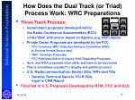 how does the dual track or triad process work wrc preparations