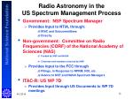 radio astronomy in the us spectrum management process