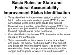 basic rules for state and federal accountability improvement status identification