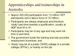 apprenticeships and traineeships in australia