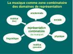 la musique comme zone combinatoire des domaines de repr sentation