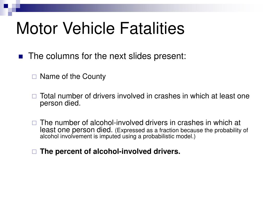 Motor Vehicle Fatalities