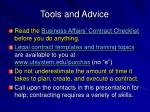 tools and advice