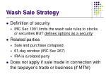 wash sale strategy