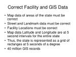 correct facility and gis data