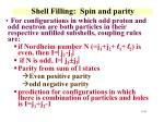 shell filling spin and parity