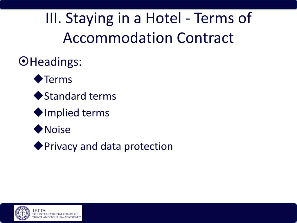 iii staying in a hotel terms of accommodation contract l.