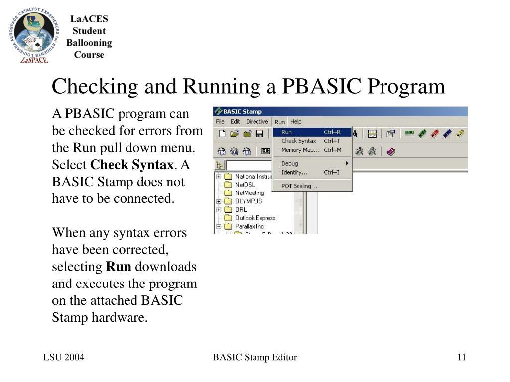 Checking and Running a PBASIC Program
