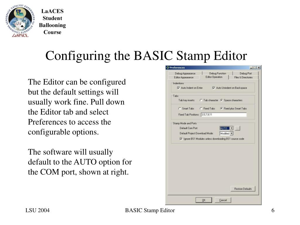 Configuring the BASIC Stamp Editor