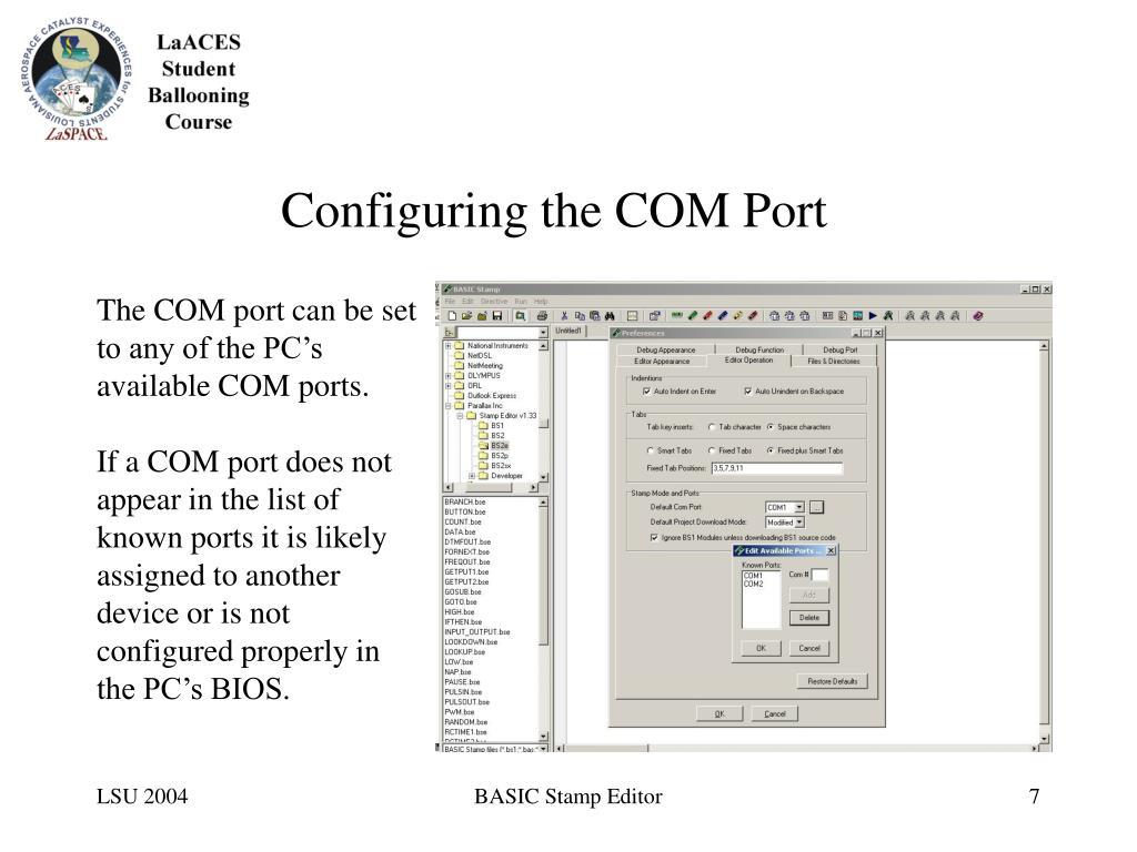 Configuring the COM Port