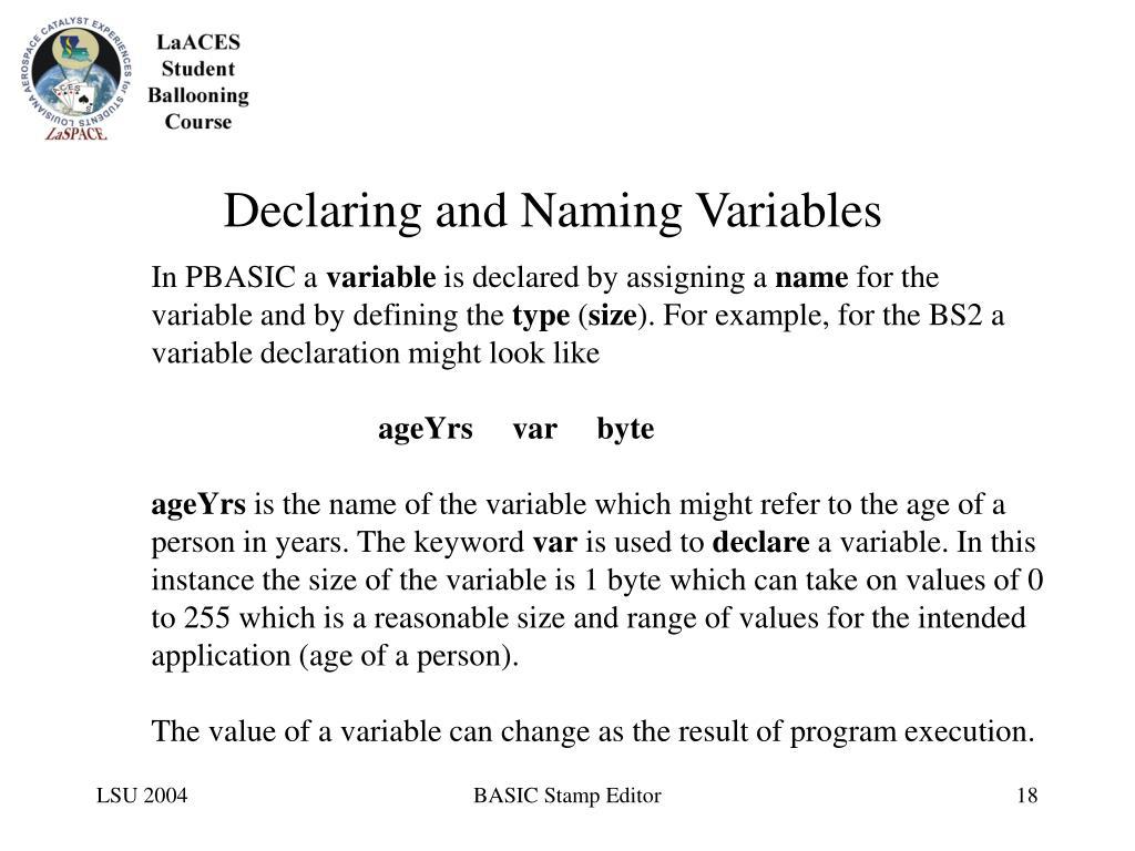 Declaring and Naming Variables