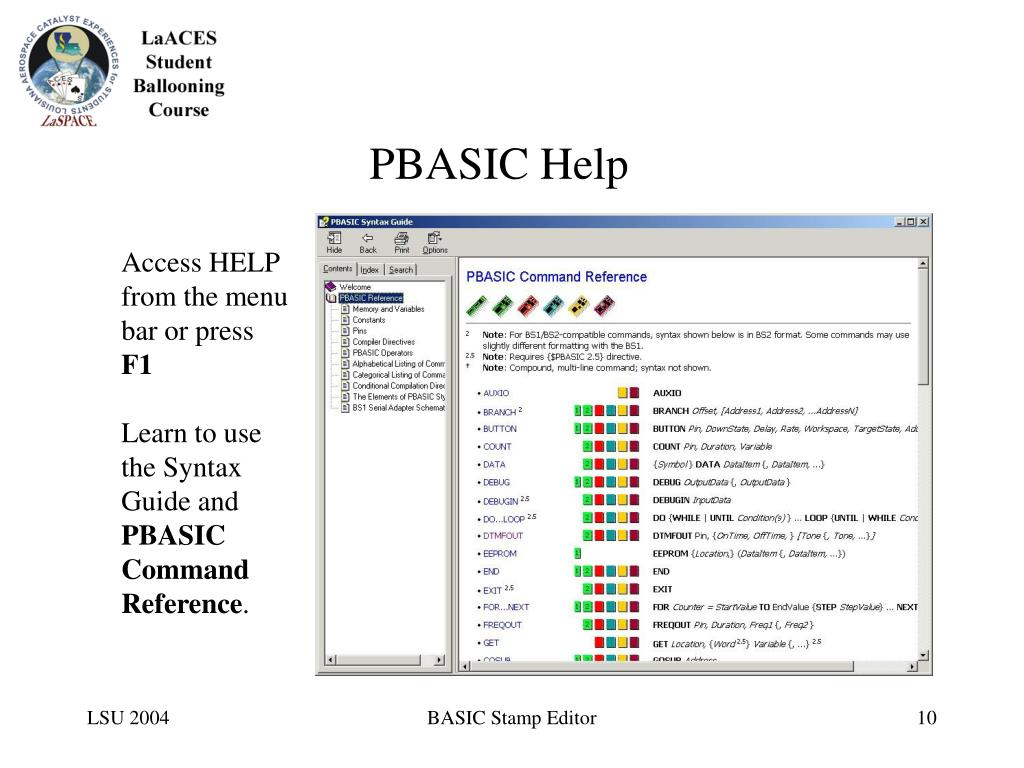 PBASIC Help