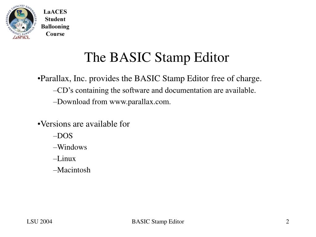 The BASIC Stamp Editor