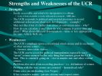 strengths and weaknesses of the ucr