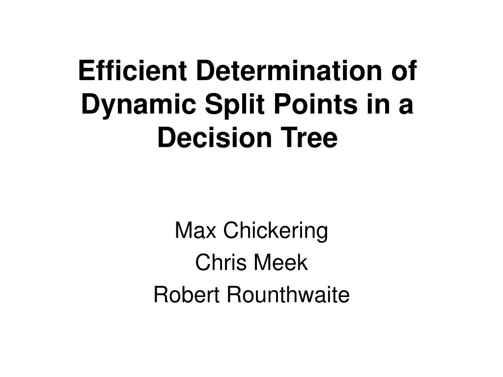 efficient determination of dynamic split points in a decision tree l.