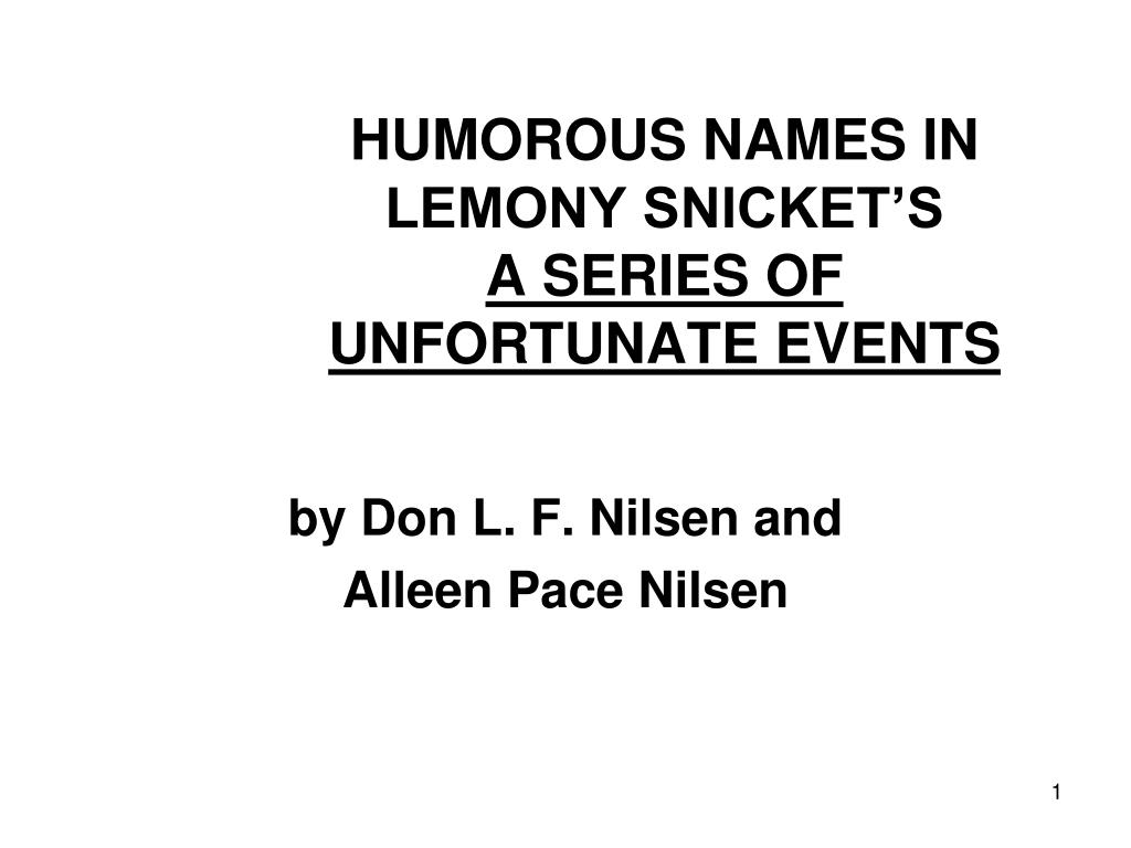 humorous names in lemony snicket s a series of unfortunate events l.