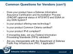 common questions for vendors con t24