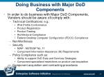 doing business with major dod components