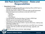 esi post award process roles and responsibilities