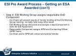 esi pre award process getting an esa awarded con t10