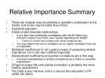 relative importance summary