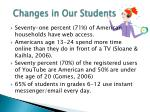 changes in our students
