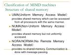 classification of mimd machines structure of shared memory