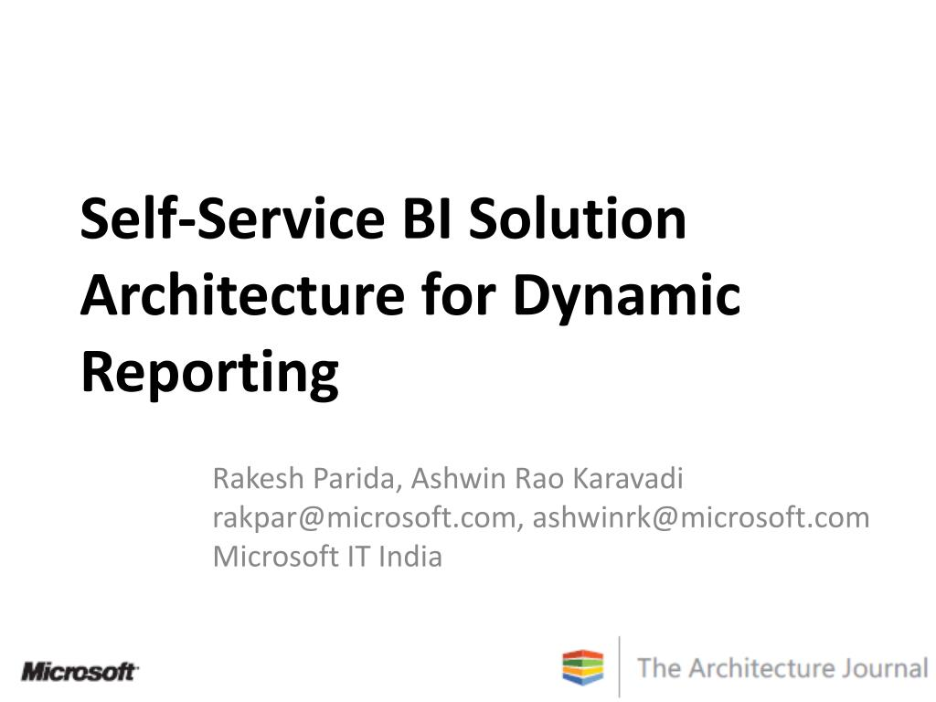 self service bi solution architecture for dynamic reporting l.