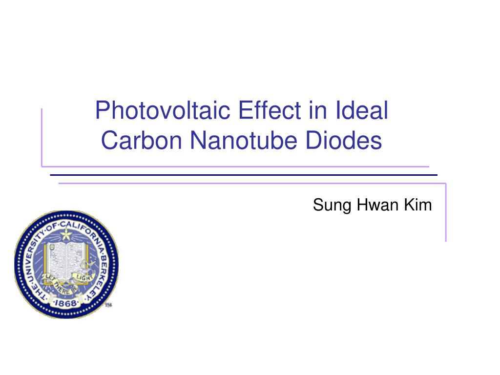 photovoltaic effect in ideal carbon nanotube diodes l.