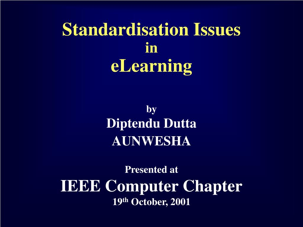 standardisation issues in elearning l.
