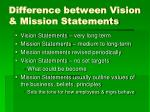 difference between vision mission statements
