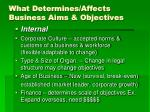 what determines affects business aims objectives