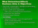 what determines affects business aims objectives31