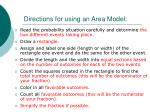 directions for using an area model