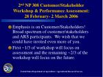 2 nd np 308 customer stakeholder workshop performance assessment 28 february 2 march 2006