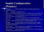 samba configuration printers