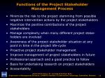 functions of the project stakeholder management process