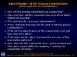 identification of all project stakeholders some questions for consideration