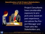 identification of all project stakeholders tool 03 ask the consultants