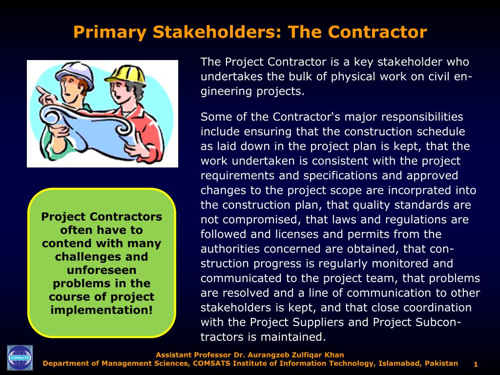 primary stakeholders the contractor l.