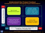 understand the project context complexity involved in managing project stakeholders