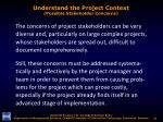 understand the project context possible stakeholder concerns