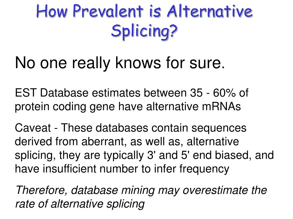 How Prevalent is Alternative Splicing?