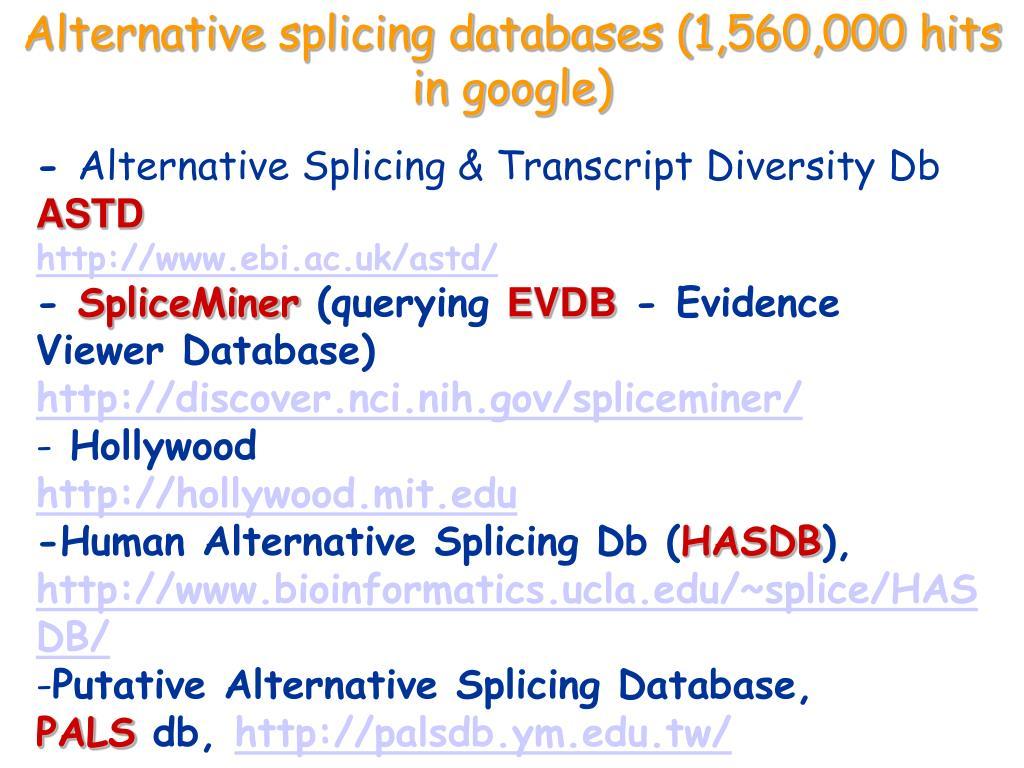 Alternative splicing databases (1,560,000 hits in google)