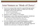 joint ventures as mode of choice