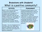 brainstorm with students what is a positive community